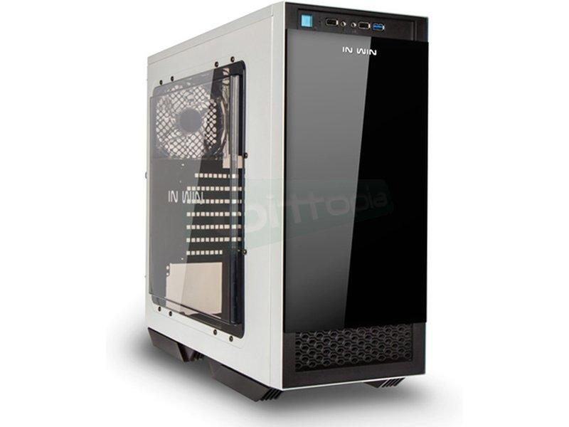 In Win 503 Blanca/Negra - Caja Torre en color blanco con frontal en color negro. Conexiones: 1 x USB 3.0.. 2 x USB 2.0. y Audio HD. Puerta lateral con ventana. 7 PCI. 1 Bahía externa 5.25. 2 Bahías internas 5.25. 4 Bahías internas 3.5. 2 Bahías internas 2.5.