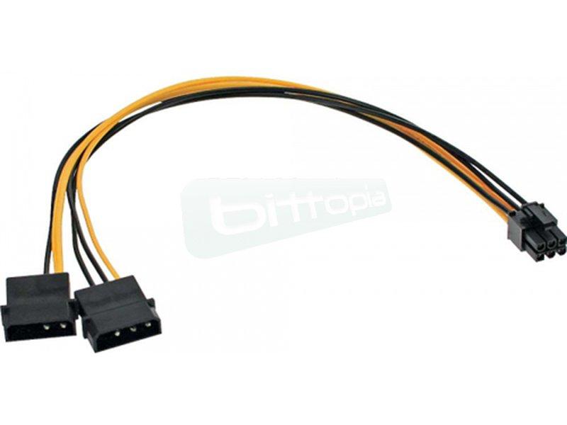 """Inline 26628. Adaptador 2 x 5.25 a 6pin PCI-Express - Cable Adaptador de corriente con dos tomas de 5,25"""" a un conector de alimentación PCI-Express de 6 pines. Longitud 30cm."""