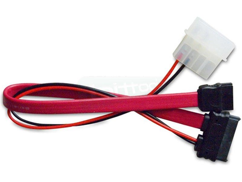 Adaptador SATA Slim (Power+datos) a Molex 5.25 y SATA estándar 20cm - Cable adaptador SATA Slim a Molex 5.25 y SATA estándar. Longitud 20 cm.