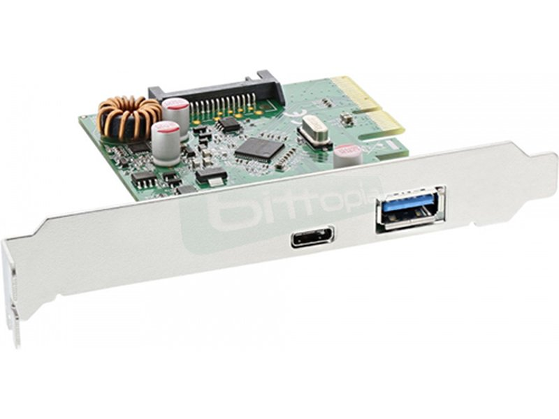 Inline 76660A. Tarjeta PCIe 2 x USB3.1 (1 tipo A y otro tipo C) - Controladora PCI-E con dos puertos USB 3.1 externos.