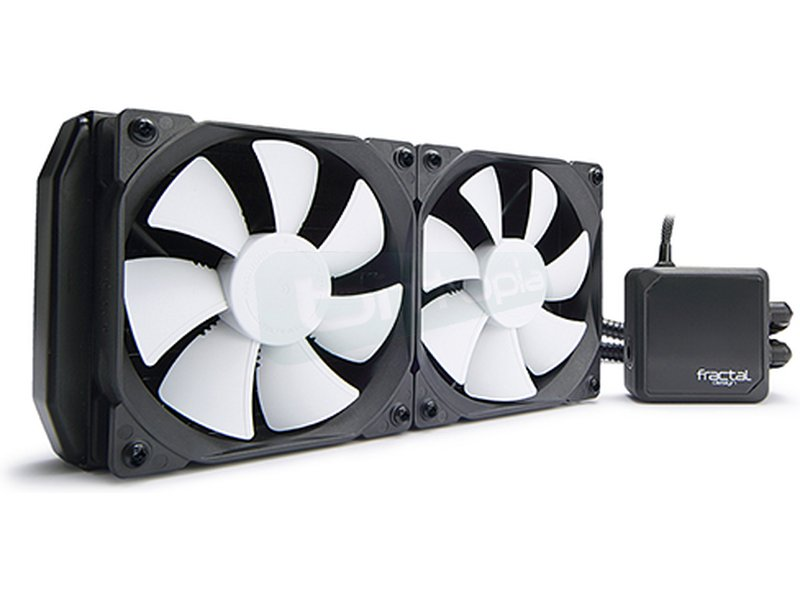 Fractal Design Kelvin S24 - Sistema de refrigeración líquida completo compatible con Intel 775/115X/1366/2011(-v3) y AM2(+)/AM3(3+)/FM1/FM2(+). Incluye 2 ventiladores 120mm. Nivel sonoro 32.2dBA. Flujo de aire 87.6CFM.