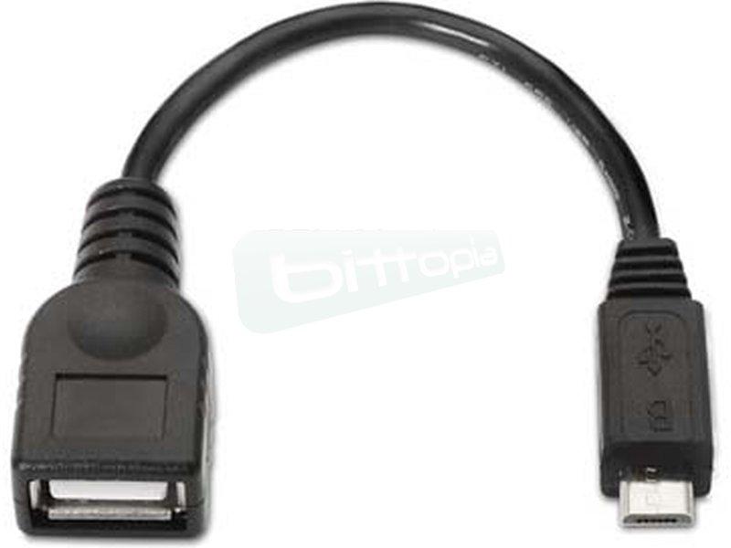 Nanocable 10.01.3500. Cable USB 2.0 OTG. Tipo Micro B/M-A/H. Negro. 15cm - Cable USB 2.0 OTG con conector tipo Micro USB B macho en un extremo y tipo USB A hembra en el otro.