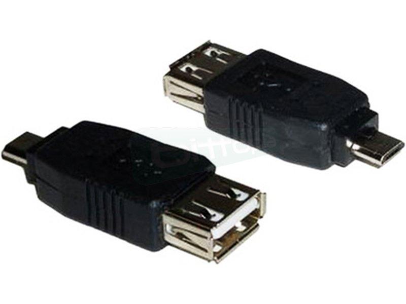 Nanocable 10.02.0004. Adaptador USB 2.0. Tipo A/H-Micro B/M - Adaptador USB 2.0 con conector tipo A hembra en un extremo y tipo micro USB B macho en el otro.