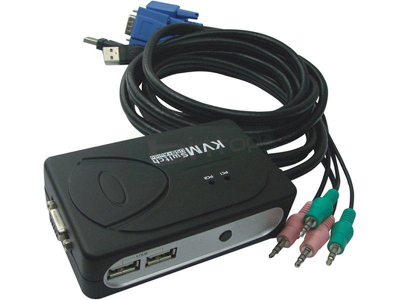 Nanocable 10.12.0001. KVM Switch USB 1U-2PC - Este KVM switch es un dispositivo que puede controlar dos ordenadores con un solo teclado. ratón. monitor y altavoces.