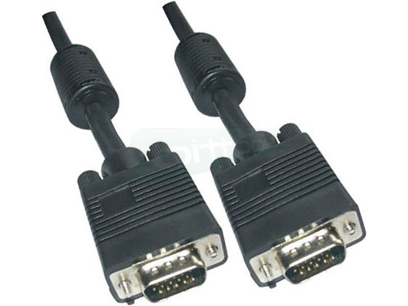 Cable SVGA con ferrita. HDB15/M-HDB15/M. 15m - Cable SVGA de alta calidad para monitor. proyector y PC. Conector tipo D-sub HDB15 macho en ambos extremos.