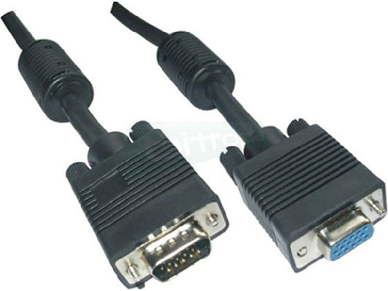 Cable SVGA con ferrita. HDB15/M-HDB15/H. 10m - Cable SVGA de alta calidad para monitor. proyector y PC. Conector tipo D-sub HDB15 macho en extremo y conector tipo D-sub HDB15 hembra en otro.