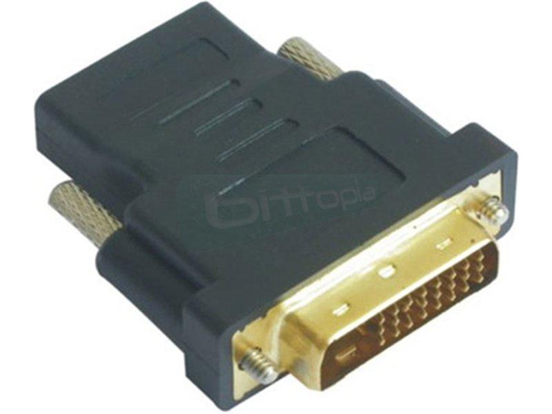 Adaptador DVI 24+1/M-HDMI A/H - Adaptador DVI a HDMI con conector DVI tipo 24+1 macho en un extremo y HDMI tipo A hembra en el otro.
