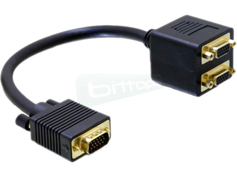 Cable bifurcador SVGA(3C+9). HDB15/M-2xHDB15/H. ORO. 20cm - Cable SVGA Plug&Play (todos los 15 pines están conectados) de alta calidad para duplicar la señal de salida de tu tarjeta gráfica y reproducirla en 2 monitores simultáneamente.