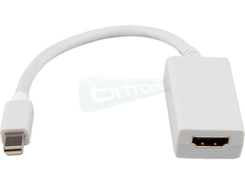 Conversor Mini DP a HDMI. Mini DP/M-HDMI/H. 15cm. Blanco - Conversor mini DP a HDMI con conector mini DP (20 Pines) macho en un extremo y HDMI tipo A hembra en el otro.