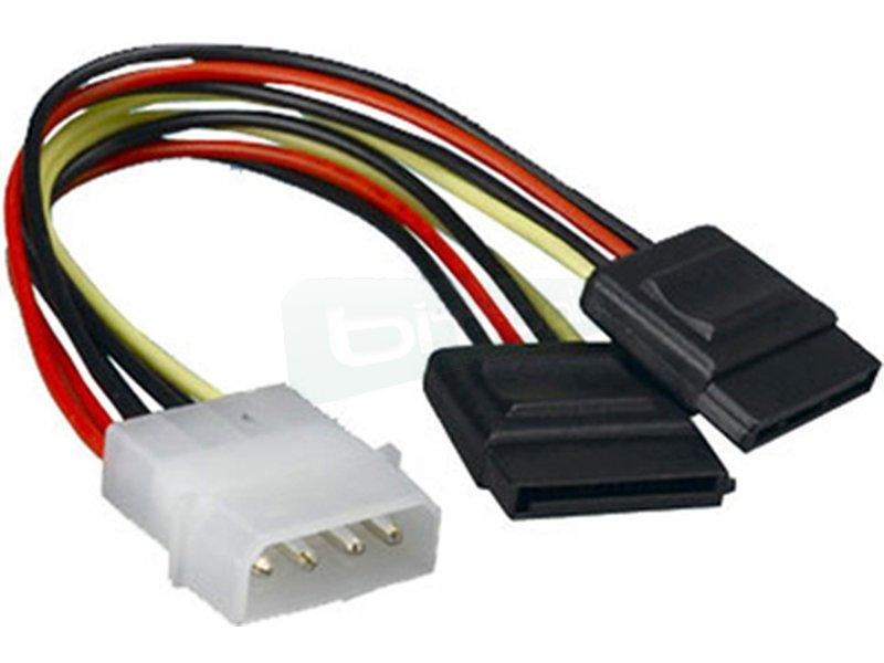 Nanocable 10.19.0101. Cable SATA Alimentación. 20cm - Conector molex 4 pin macho en un extremo y dos conectores sata alimentación hembra en otro.
