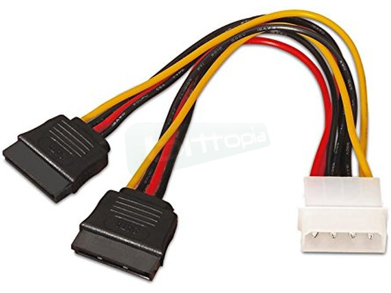 Nanocable 10.19.0102. Cable SATA Alimentación. 30cm - Conector molex 4 pin macho en un extremo y dos conectores sata alimentación hembra en otro.