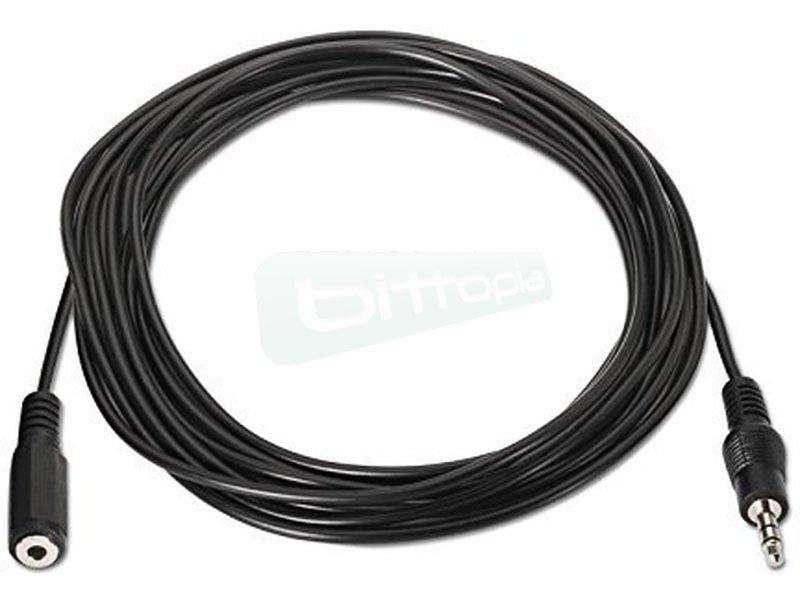 """Cable audio estéreo. 3.5/M-3.5/H. 3.0m - Cable audio estéreo con conector tipo Jack 3.5"""" macho en un extremo y tipo Jack 3.5"""" hembra en el otro."""
