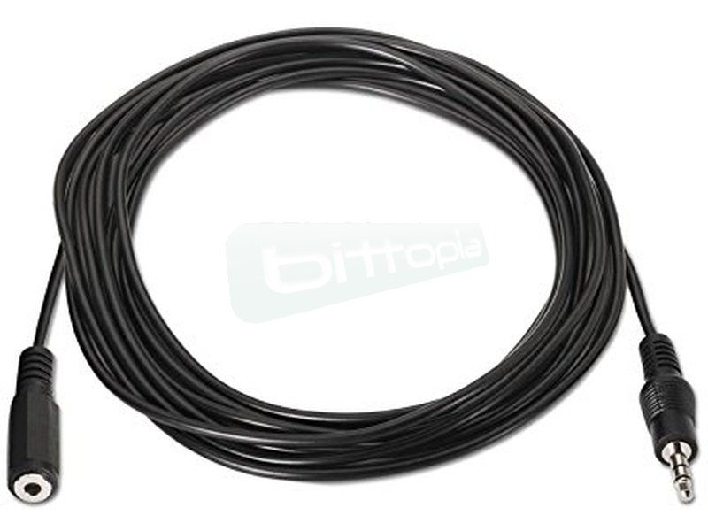 """Cable audio estéreo. 3.5/M-3.5/H. 5.0m - Cable audio estéreo con conector tipo Jack 3.5"""" macho en un extremo y tipo Jack 3.5"""" hembra en el otro."""