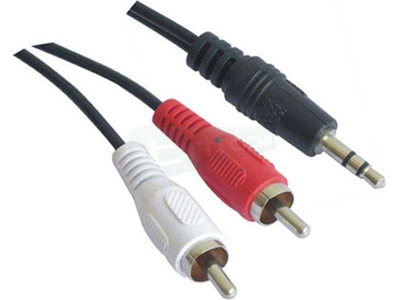 """Cable audio estéreo. 3.5/M-2xRCA/M. 1.5m - Cable audio estéreo con conector tipo Jack 3.5"""" macho en un extremo y  2 x RCA macho en el otro."""