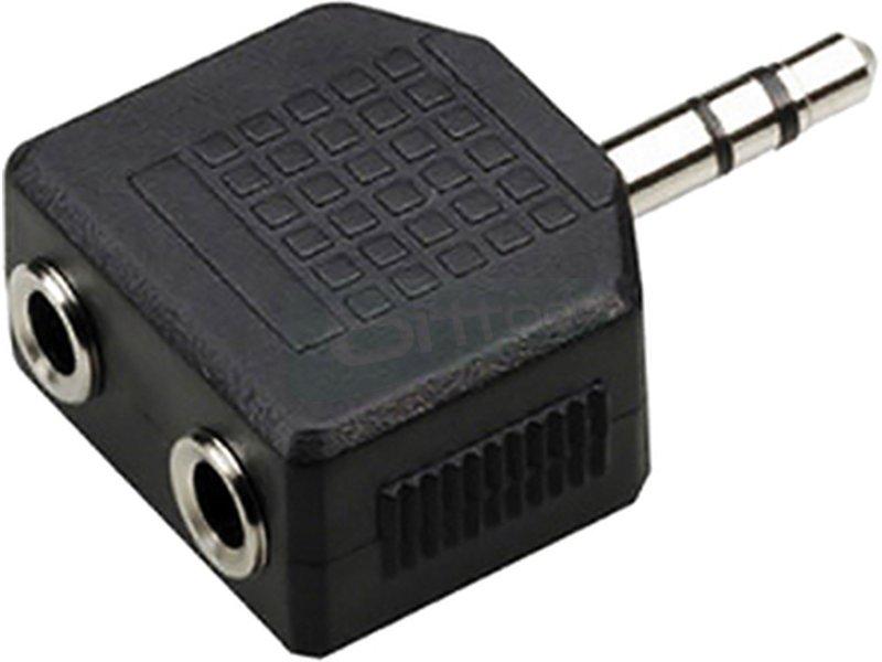 Adaptador audio estéreo. 2xJack 3.5/H-Jack 3.5/M - Adaptador audio estéreo con dos conectores Jack 3.5 hembra en un extremo y Jack 3.5 macho en otro.