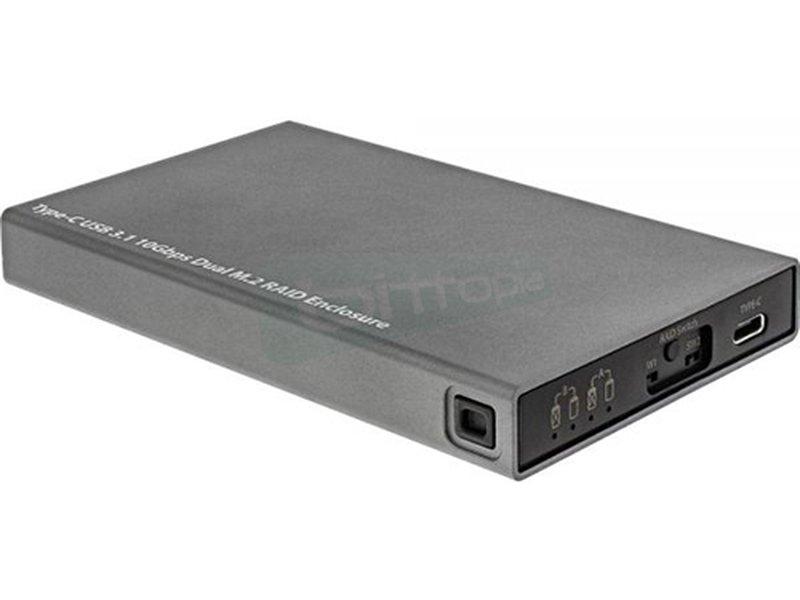 InLine 00031C. Caja externa USB 3.1. Compatible con 2x M.2. Negra - Caja para discos M.2. Soporta SATA III,II,I. Conexión USB 3.1.